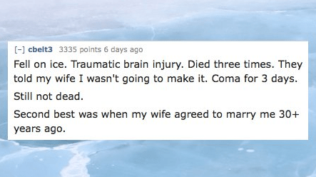 Text - [-] cbelt3 3335 points 6 days ago Fell on ice. Traumatic brain injury. Died three times. They told my wife I wasn't going to make it. Coma for 3 days Still not dead. Second best was when my wife agreed to marry me 30+ years ago.