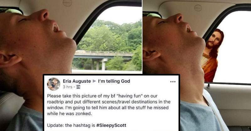 Guy falls asleep during road trip, so his girlfriend asks Photoshop trolls online to mess with a picture of him sleeping