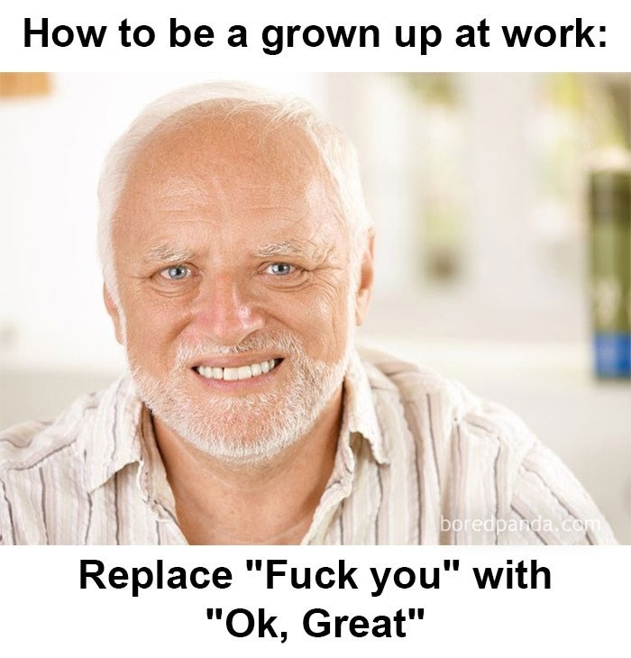 "hump day meme about office etiquette with picture of ""hide the pain Harold"""