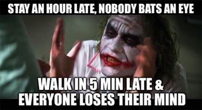 hump day meme about being late to work with the Joker ranting in a nurse outfit