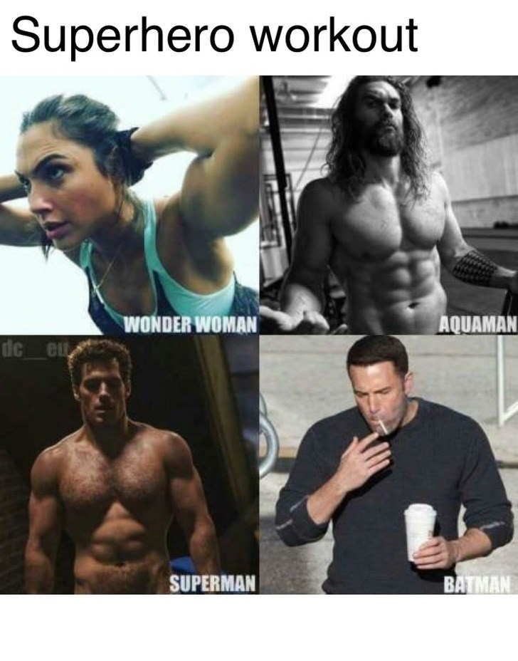 Thrusday meme with pics of DC actors working out while Ben Affleck drinks and smokes