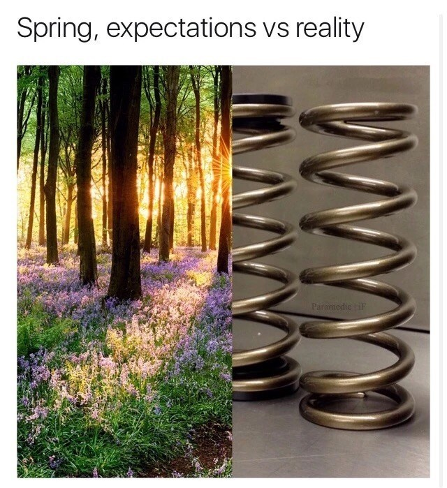 Thrusday meme making a pun of the word spring meaning both a season and a device