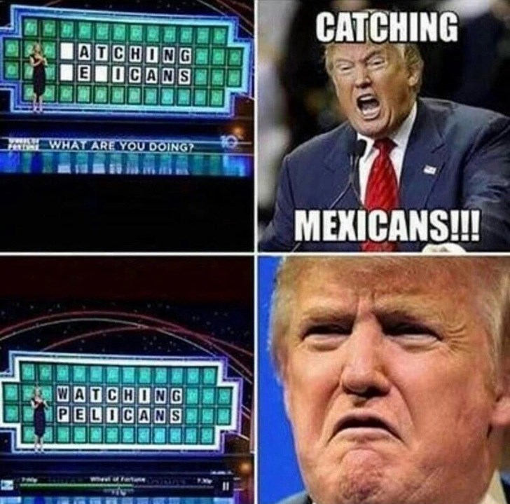 Thrusday meme about Trump playing Wheel of Fortune