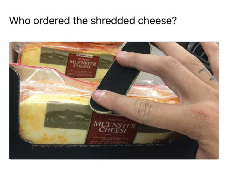 Thrusday meme making pun of shredded cheese being cheese handled with a nail filer