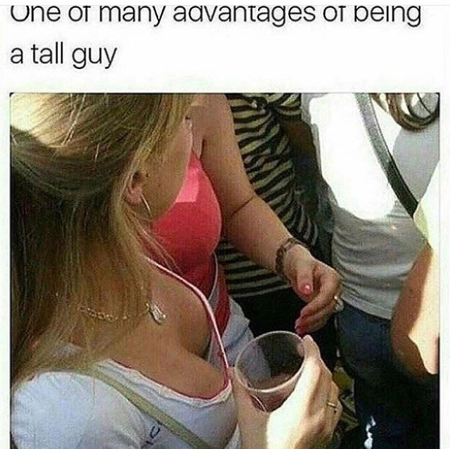 Thrusday meme about tall guys looking down women's cleavages