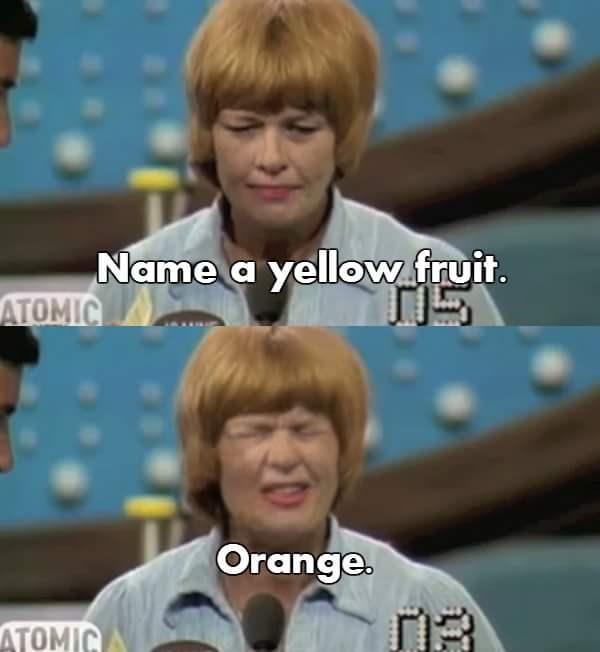 Hair - Name a yellow fruit. ATOMIC Orange. ATOMIC