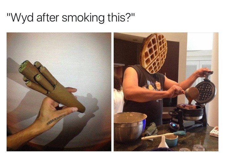 WYD after smoking this meme with pic of person with waffle for a head making waffles