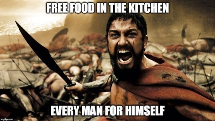 work meme about mobbing the kitchen when there's free food