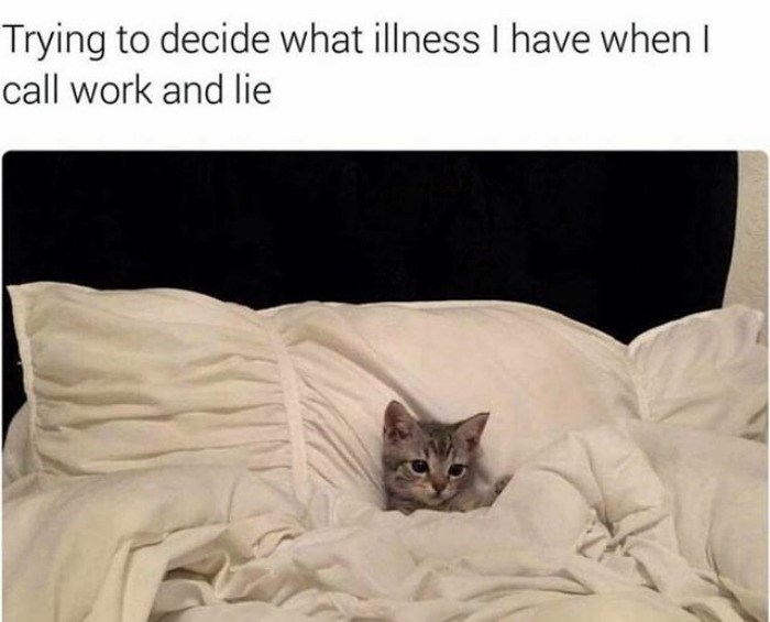 work meme about faking calling in sick to work