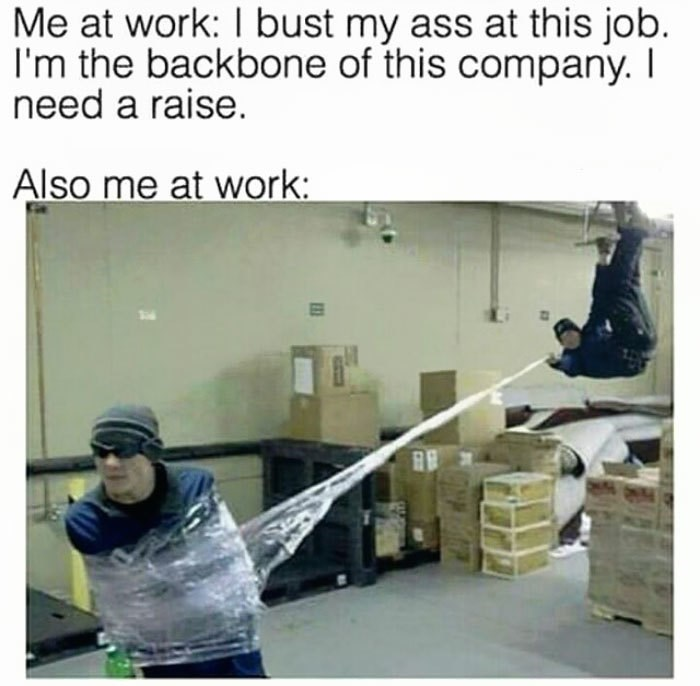 work meme about fooling around at work with pic of person pretending to be Spider Man