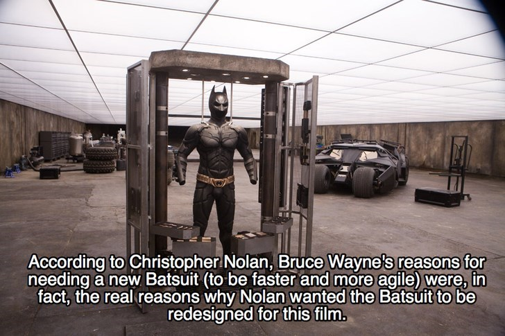 Automotive tire - According to Christopher Nolan, Bruce Wayne's reasons for needing a new Batsuit (to be faster and more agile) were, in fact, the real reasons why Nolan wanted the Batsuit to be redesigned for this film.