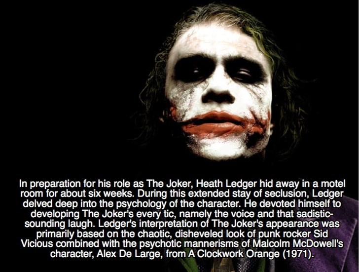 Joker - In preparation for his role as The Joker, Heath Ledger hid away in a motel room for about six weeks. During this extended stay of seclusion, Ledger delved deep into the psychology of the character. He devoted himself to developing The Jokers every tic, namely the voice and that sadistic- sounding laugh. Ledger's interpretation of The Joker's appearance was primarily based on the chaotic, disheveled look of punk rocker Sid Vicious combined with the psychotic mannerisms of Malcolm McDowell