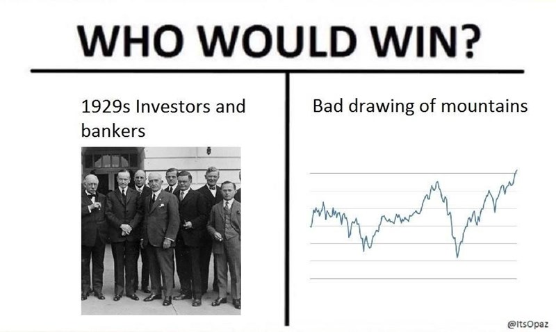 Text - WHO WOULD WIN? Bad drawing of mountains 1929s Investors and bankers M @itsOpaz