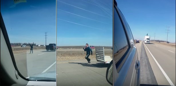 fail video Guy Jumps on Semi to Run from Cops