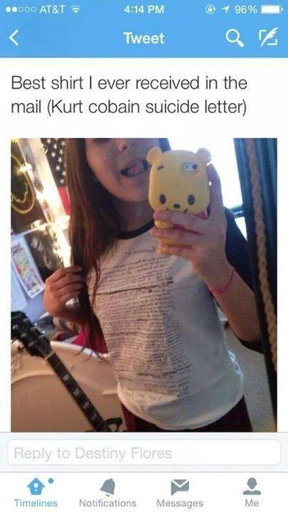 Cringe tweet of girl who loves her new shirt of Kurt Cobain's suicide letter