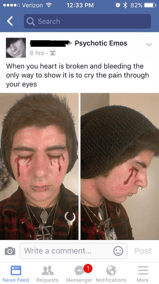 cringeworthy facebook post of bleeding from his eyes to signify a broken heart