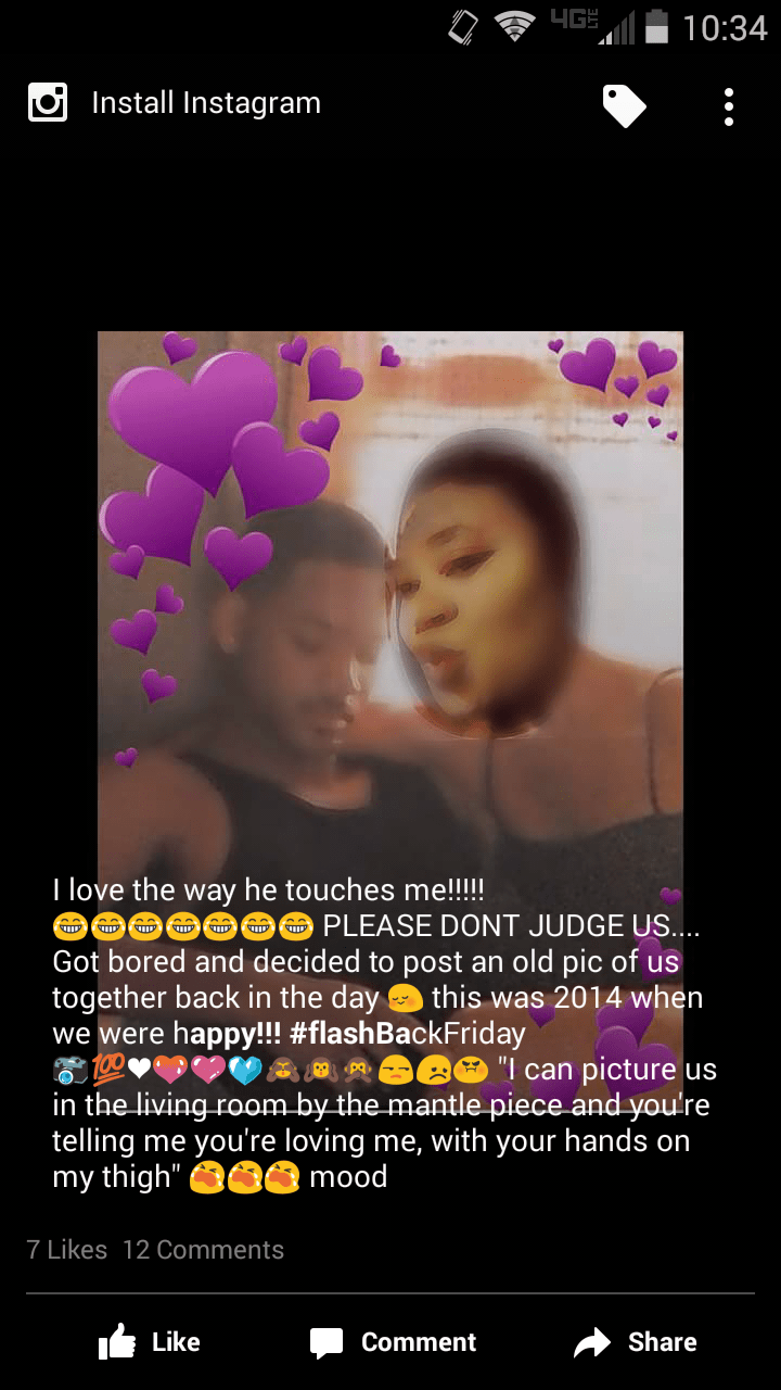 instagram cringe post of woman who misses her bf
