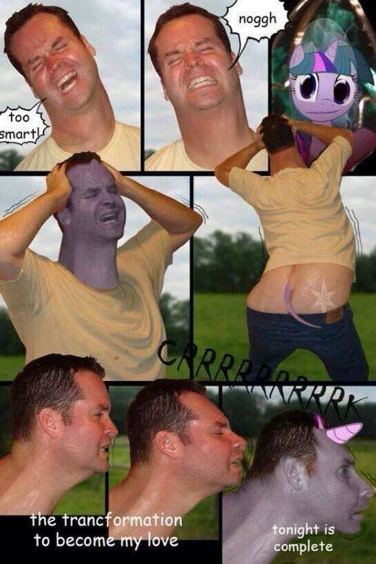cringeworthy meme of man transforming into a creature to love the My Little Pony character