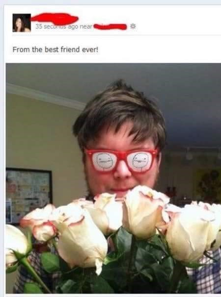 cringeworthy flower from man wearing glasses with cartoons in the eyes