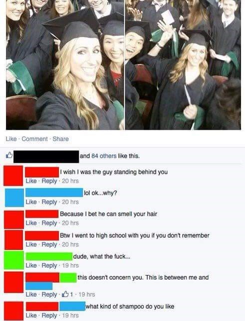 cringeworthy post of high school graduation and user on facebook who wants to smell her hair