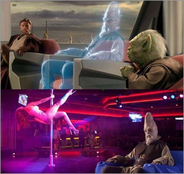 Droid attack on the wookies but in a strip bar