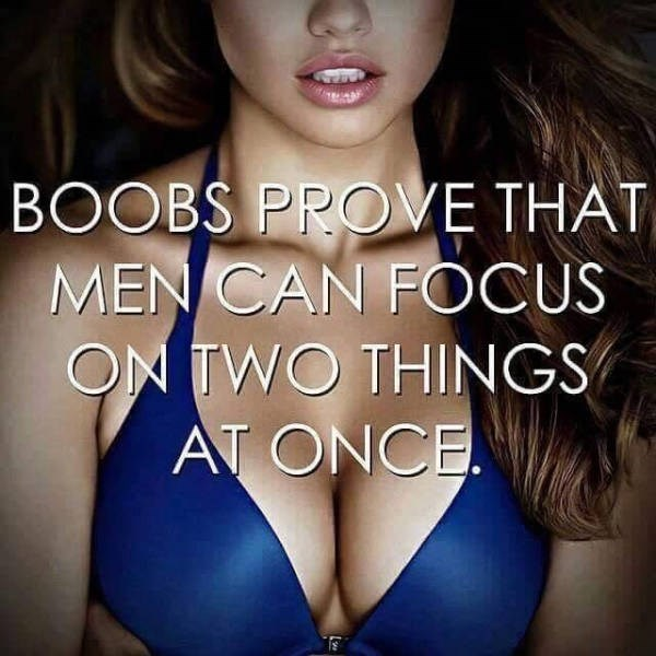 boobs prove that men can focus on two things at once