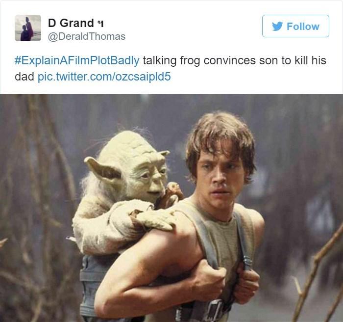 Human - D Grand 1 Follow @Derald Thomas #ExplainAFilmPlotBadly talking frog convinces son to kill his dad pic.twitter.com/ozcsaipld5