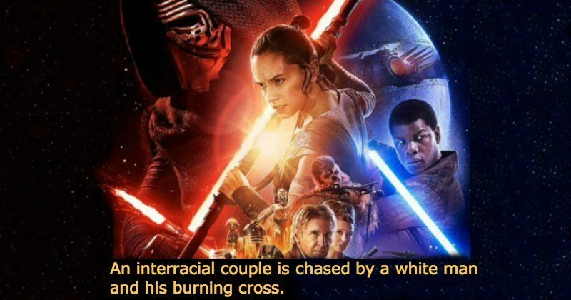 Poster - An interracial couple is chased by a white man and his burning cross.
