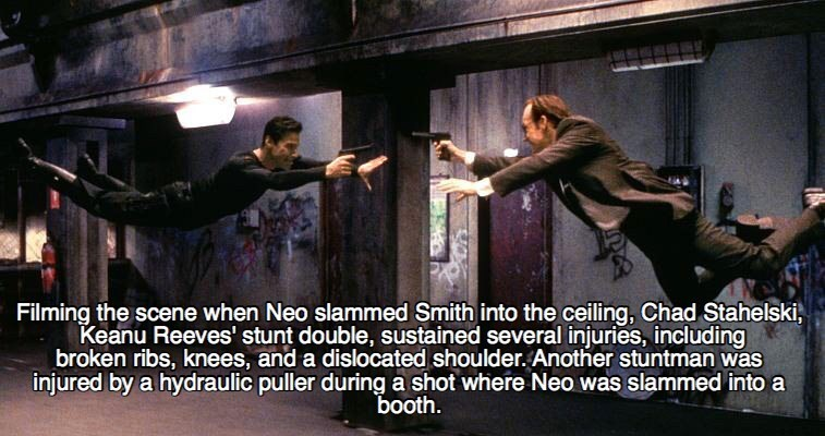 Action-adventure game - Filming the scene when Neo slammed Smith into the ceiling, Chad Stahelski, Keanu Reeves' stunt double, sustained several injuries, including broken ribs, knees, and a dislocated shoulder. Another stuntman was injured by a hydraulic puller during a shot where Neo was slammed into a booth
