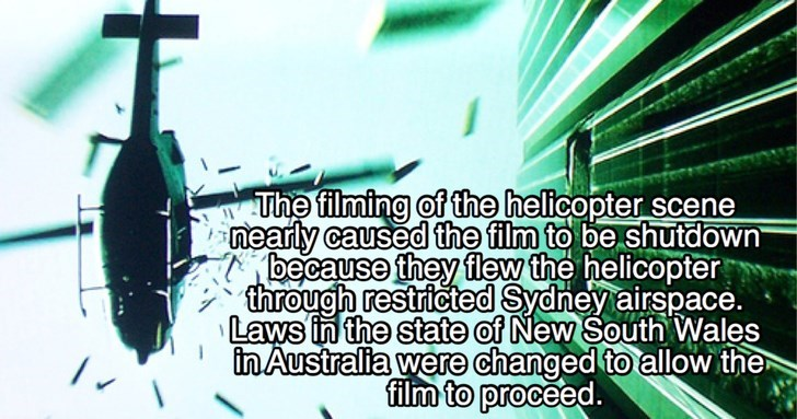 Text - The filming of the helicopter scene nearly caused the film to be shutdown because they flew the helicopter through restricted Sydney airspace. Laws in the state of New South Wales in Australia were changed to allow the film to proceed.