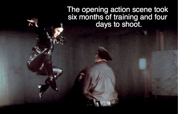 Text - The opening action scene took six months of training and four days to shoot.