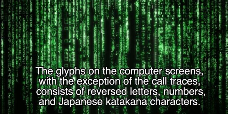 "Green - The glyphs on the computer screens with the exception of the call traces consists of reversed letters, numbers, and Japanese katakana characters. u : APTpEAK yLESA Au pxlq F""OAndo OfpaEe S ASUDaLlge E81 7-60 SYMMA3 --+-1?स wnapogub0Af uyODu@eyar?-au GA STUVWX AAAA O000 s +W>BEGh [mkf [dbrny be Rbrk ws)TYA:CDE2GHIJSTUVWXYZcatfoe 1AAAACERO0000 gaada 610-SABA Acsts..pICRIp] xo mSgszBntnREC af 2eETOvdag xaMIDOJ2 Coa>y DUBYGE eMA geA Ckadahy NEY )ua AMEhYg180- 8ugoEAEBOC taor t2i0 IOC-CE gk n"