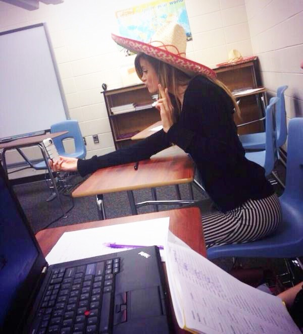 girl posing with Sombrero for a selfie