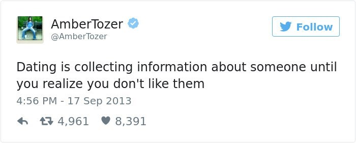 Text - Amber Tozer Follow @AmberTozer Dating is collecting information about someone until you realize you don't like them 4:56 PM 17 Sep 2013 t4,961 8,391