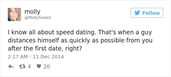 Text - molly Follow @MollySneed I know all about speed dating. That's when a guy distances himself as quickly as possible from you after the first date, right? 2:17 AM 11 Dec 2014 t4 20