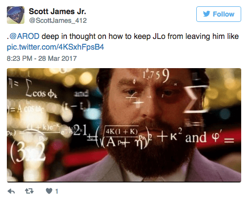 Text - Scott James Jr. Follow @ScottJames_412 .@AROD deep in thought on how to keep JLo from leaving him like pic.twitter.com/4KSxhFpsB4 8:23 PM -28 Mar 2017 759 Leas .cos EA COS DE and Pke 21, PR Kand 4K(1+K) (At (3 2 t 1
