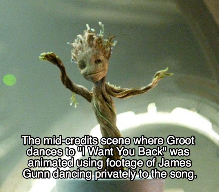 """Adaptation - The mid-credits scene where Groot dances to """"I Want You Back"""" was animated using footage of James Gunn dancing privately to the song."""