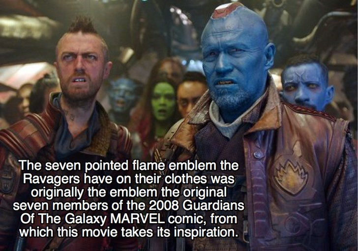 Action-adventure game - The seven pointed flame emblem the Ravagers have on their clothes was originally the emblem the original seven members of the 2008 Guardians Of The Galaxy MARVEL comic, from which this movie takes its inspiration.