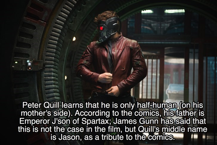 Photo caption - Peter Quill learns that he is only half-human (on his mother's side). According to the comics, his father is Emperor J'son of Spartax; James Gunn has said that this is not the case in the film, but Quill's middle name is Jason, as a tribute to the comics.