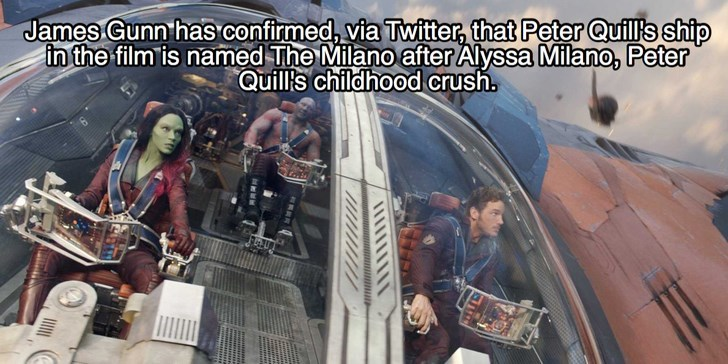 Vehicle - James Gunn has confirmed, via Twitter, that Peter Quil's ship in the film is named The Milano after Alyssa Milano, Peter Quill's childhood crush.