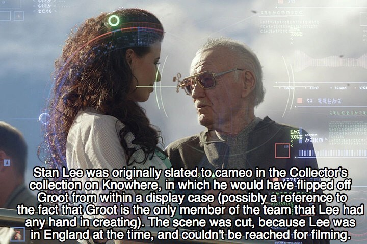 Photo caption - Sctc te A १ । Ш1 Stan Lee was originally slated to cameo in the Collector's collection on Knowhere, in which he would have flipped off Groot from within a display case (possibly a reference to the fact that Groot is the only member of the team that Lee had any hand in creating). The scene was cut, because Lee was in England at the time, and couldn't be reached for filming. 111115 ur
