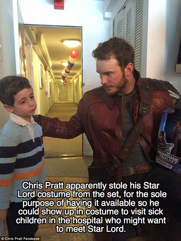 Photo caption - GUARDIANS GALAXY Chris Pratt apparently stole his Star Lord costume from the set, for the sole purpose of having it available so he could show up in costume to visit sick children in the hospital who might want to meet Star Lord. O Chris Pratt Facebook
