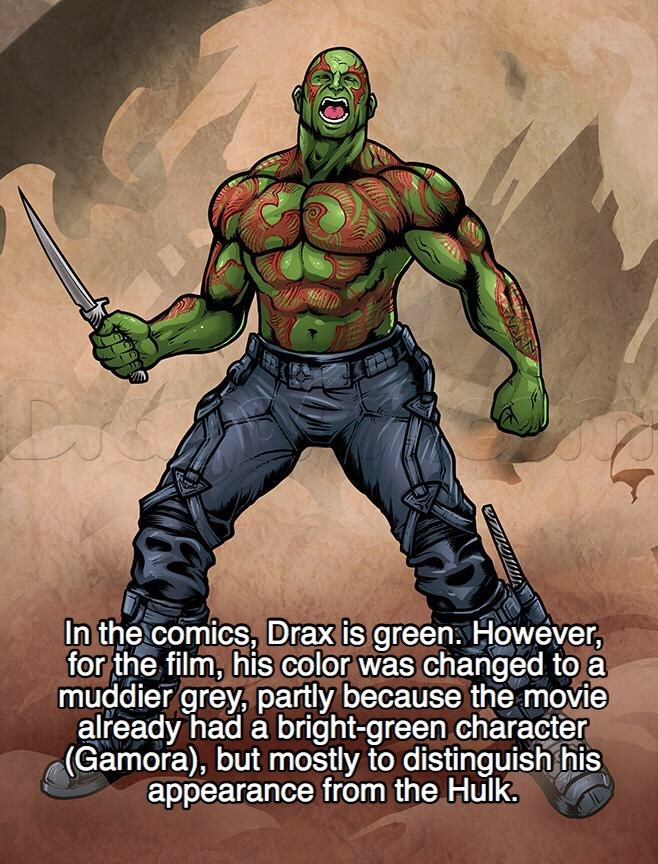 Fictional character - In the comics, Drax is green However, for the film, his color was changed to a muddier grey, partly because the movie already had a bright-green character (Gamora), but mostly to distinguish his appearance from the Hulk.