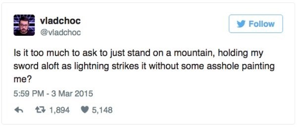 Funny tweet about standing on a mountain and waiting for lightening strikes