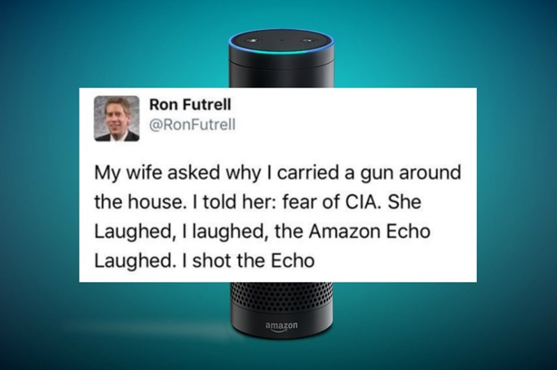 Funny tweet of Ron Futrell joking with his wife about carrying a gun around the house and shooting the Amazon Echo