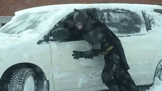 humpday pic of batman helping push a snowed up car