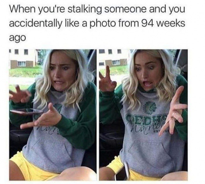 Wednesday meme about liking an old post with pics of woman dropping a phone in fear