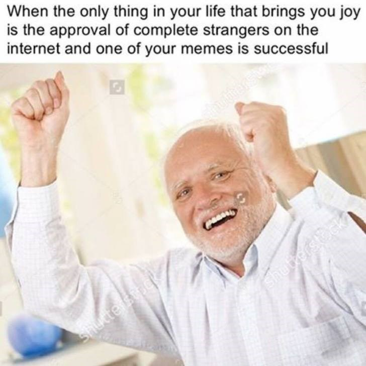 """Wednesday meme with pic of """"Hide the Pain Harold"""" publishing a successful meme"""