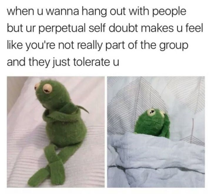 Wednesday meme about being insecure with pics of a sad Kermit contemplating life