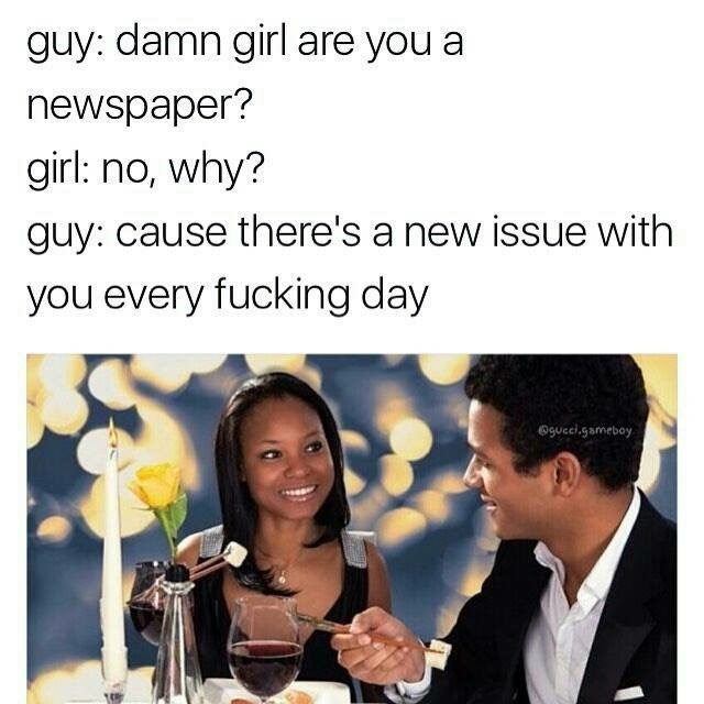 Wednesday meme comparing woman with issues to a newspaper with pic of couple on date
